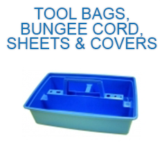 tool bags, bungee cord, sheets and Covers