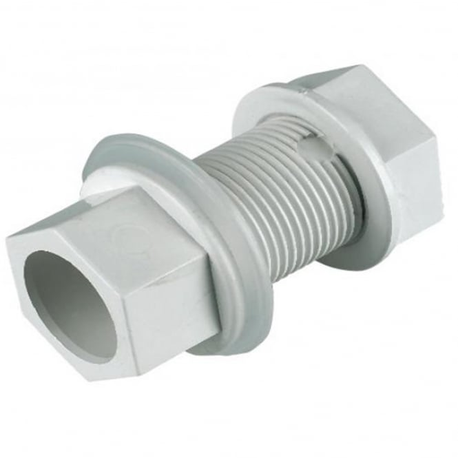 Floplast White Overflow Straight Tank Connector 21.5mm OS14W