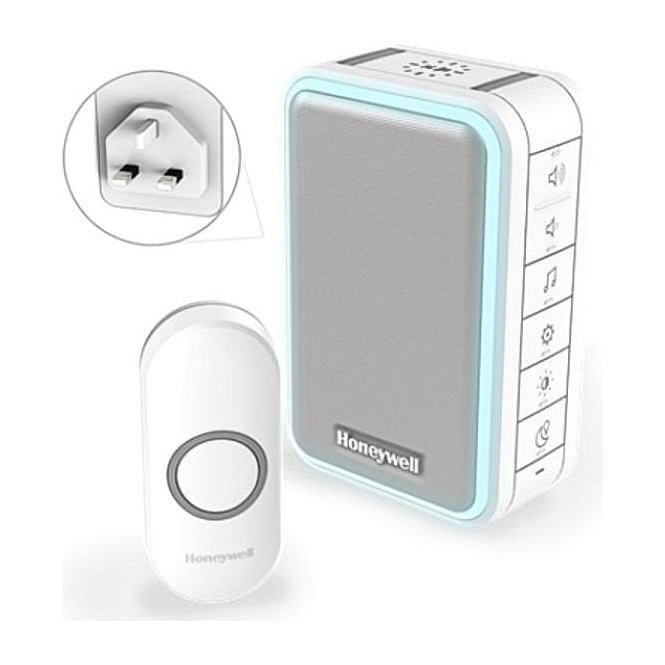 Honeywell (DC315NBS) Series 3 Wireless Plug In  Doorbell With Halo Light USB Charging & Push Button White