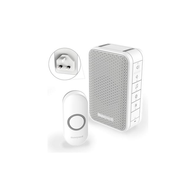 Honeywell Series 3 Wireless Plug In Doorbell With Volume Control & Push Button White DC313NBS