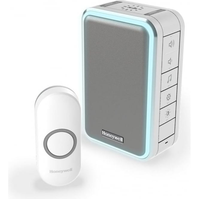 Honeywell Series 3 Wireless Portable Doorbell With Halo Light & Push Button Grey DC315NG