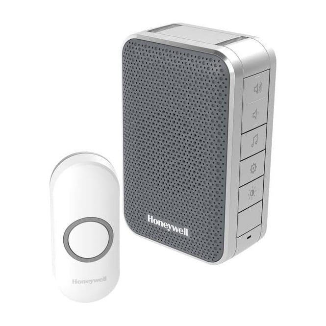Honeywell Series 3 Wireless Portable Doorbell With Volume Control & Push Button Grey DC313NG