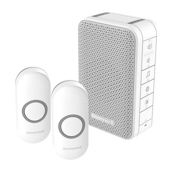 Honeywell Series 3 Wireless Portable Doorbell With Volume Control & Two Push Button White DC313NFB