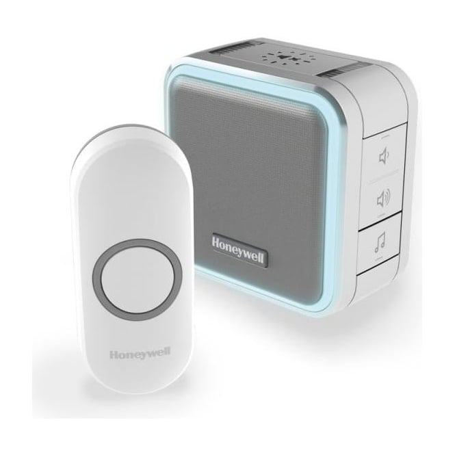 Honeywell Series 5 Wireless Portable Doorbell With Halo Light, Sleep Mode & Push Button White DC515N