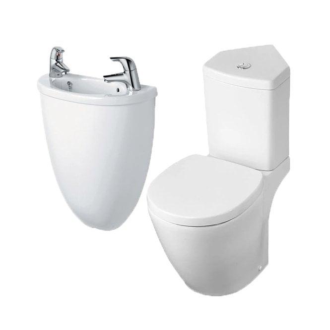 Ideal Standard Space Cloak Room Suite (Micro Basin + Shroud & Corner Pan  and Cistern)