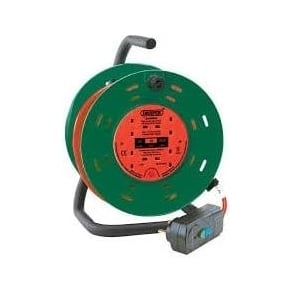 230V Four Socket Garden Cable Reel With RCD Adaptor 25m
