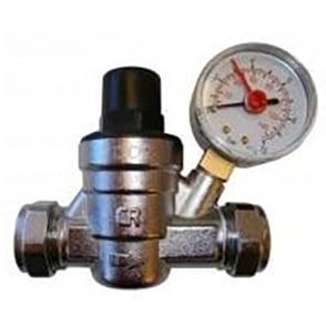 Pressure reducing valve c/w gauge 15/22mm
