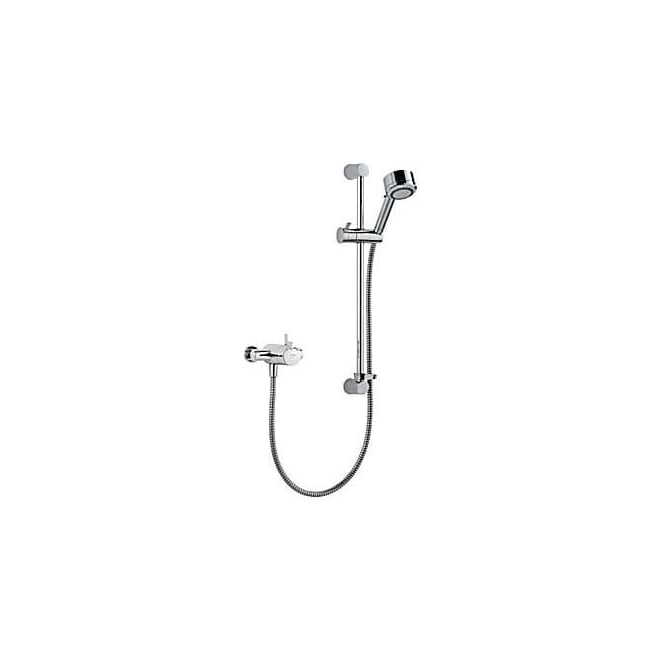 Mira All Chrome Miniduo EV Thermostatic Shower Valve Exposed C/W Slide Rail Kit