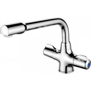 Monobloc Sink Mixer. Ceramic Disc. Dualflow tubular spout.