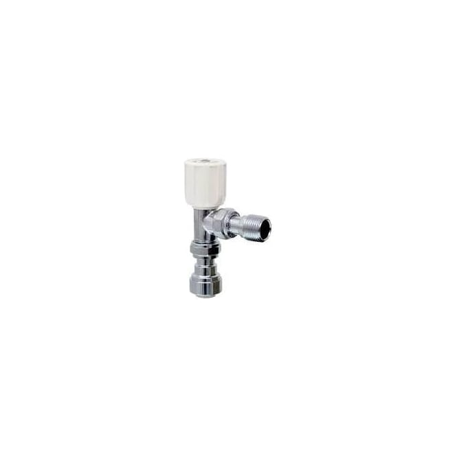 Pegler Yorkshire Terrier Wheelhead Radiator Valve Angled Pattern with Push Fit Straight Connector