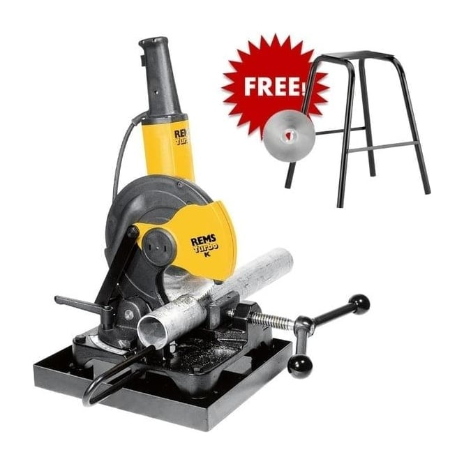 Rems 849X02 Turbo K Circular Metal Sawing Machine With Free HSS-E Saw Blade And Stand