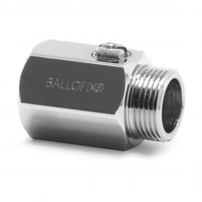 Ballofix Isolating Valve Threaded MxF Chrome Screwdriver Operation